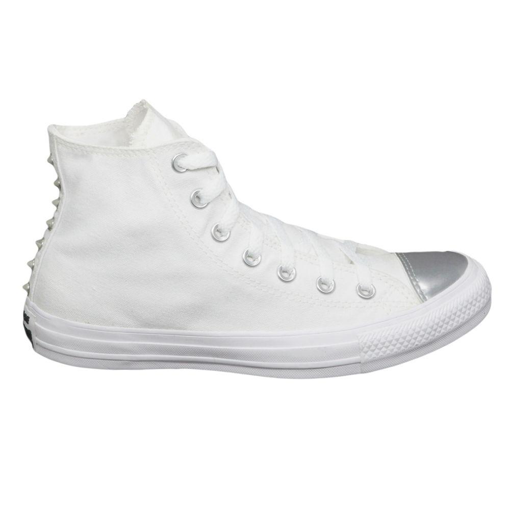 Tênis Converse Chuck Taylor All Star Branco Prata Puro - Espaco Tenis aa317ca77c8cb